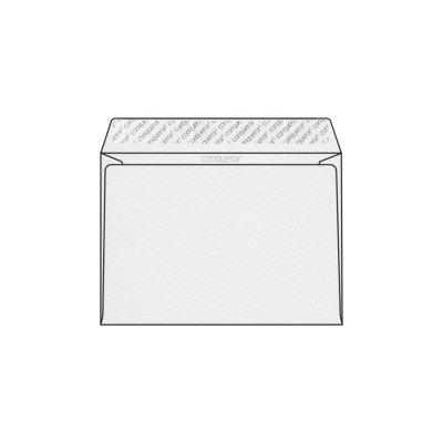 Enveloppe C5 162 x 229 mm sans fenêtre Conqueror Contour, martelé blanc glacier, strip, patte trapèze 120g/m2, contient du coton