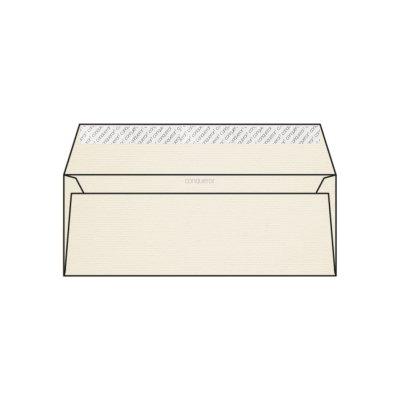 Enveloppe DL 110 x 220 mm sans bande sans fenêtre Conqueror vergé, vergé blanc nacré, strip, patte droite 120g/m2, contient du coton