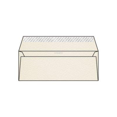 Enveloppe DL 110 x 220 mm sans bande sans fenêtre Conqueror Contour, martelé blanc nacré, strip, patte droite 120g/m2, contient du coton