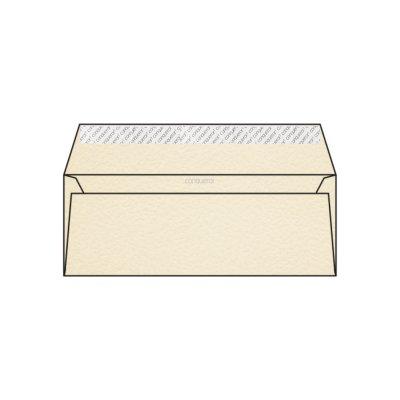 Enveloppe DL 110 x 220 mm sans bande sans fenêtre Conqueror Contour, martelé crème, strip, patte droite, 120g/m2 contient du coton