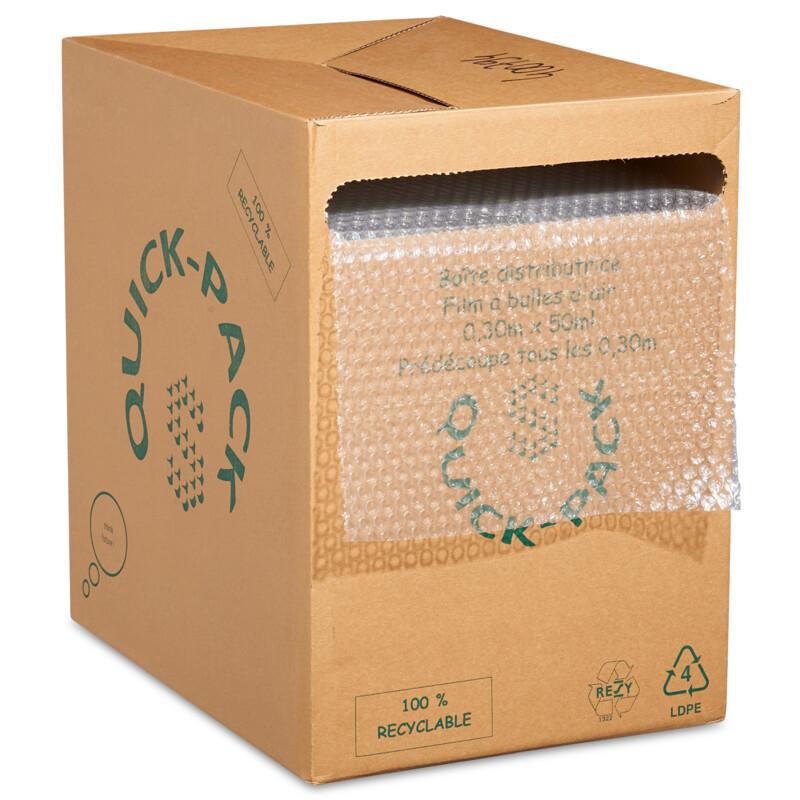 Boîte distributrice de film à bulles transparent- coupe tous les 30cm - Film bulles de protection- Emballage des objets fragiles- rembourrage - Protection - Antalis