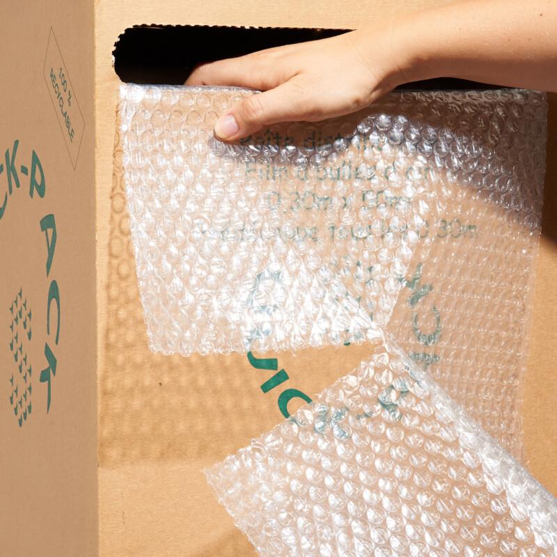 Boîte distributrice film bulle transparent coupe tous les 30cm produit ouvert