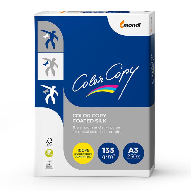 Color Copy- Coated Silk- blanc couche deux faces- demi-mat Papier copieur- A3- 135G- Antalis