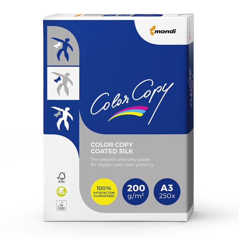 Color Copy- Coated Silk- blanc couche deux faces- demi-mat Papier copieur- A3-200G- Antalis