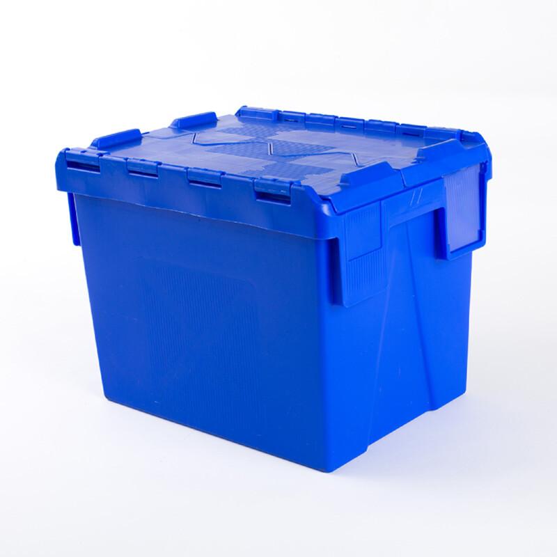 Bac à couvercle integre - Caisse plastique type pharmacie- Caisse avec porte etiquette- Caisse plastique bleu - Antalis