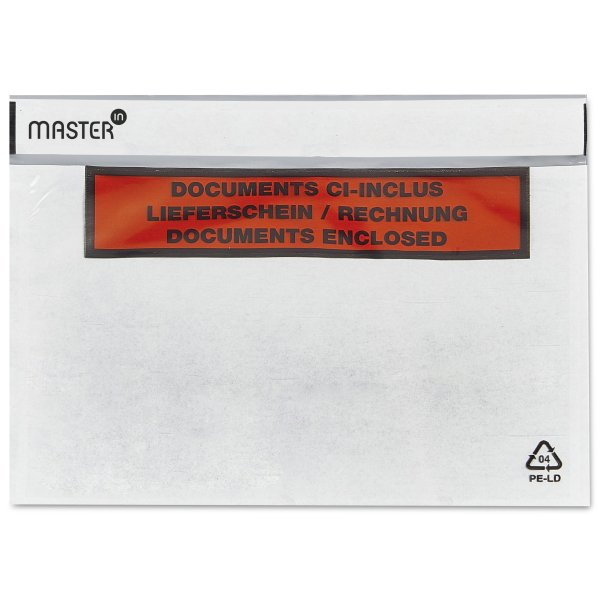 Pochette Porte;Document imprimee ;Master'in Performance; Pochette transparente adhesive d'expedition ;Antalis