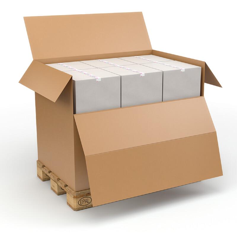 Caisse Container avec Abattant- Boite carton grand format - Caisse carton grande contenance - Facile à charger - Simple à fermer- Expedition - stockage - Emballage - Antalis