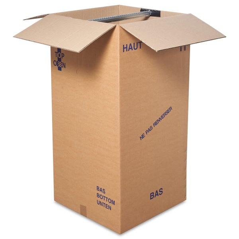 Boite penderie - Carton demenagement - Caisse carton penderie-Suspension de vetements- caisse double cannelure -Livree à plat -  resistante au poids -40kg- Antalis