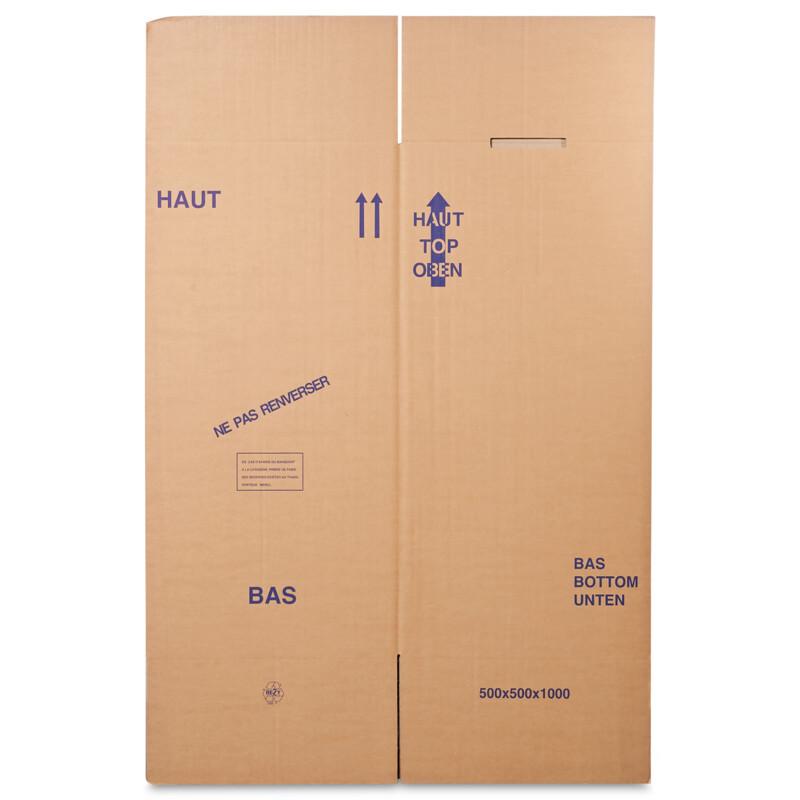 Boite penderie - Carton demenagement - Caisse carton penderie-Suspension de vetements- grande porte sur face avant- Livree à plat -  resistante au poids -40kg- Antalis
