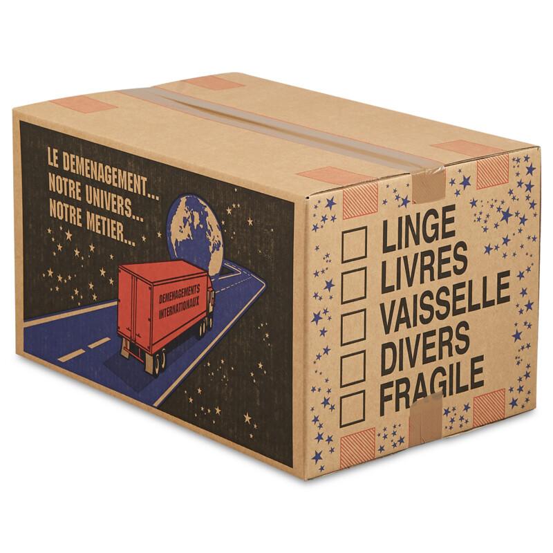 Caisse carton Demenagement - Livree à plat - Resistante à la compression verticale - Empilable - Boite carton pour demenager- Antalis