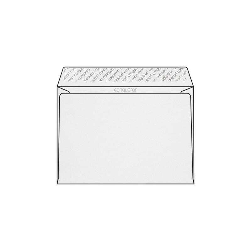 Enveloppe C5 162 x 229 mm sans fenêtre Conqueror Stonemarque, gaufrage pierre blanc diamant, strip, patte droite 120g/m2, contient du coton