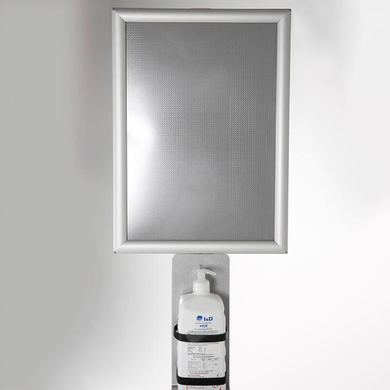 Distributeur de gel hydroalcoolique avec panneau d'information A3 - Antalis