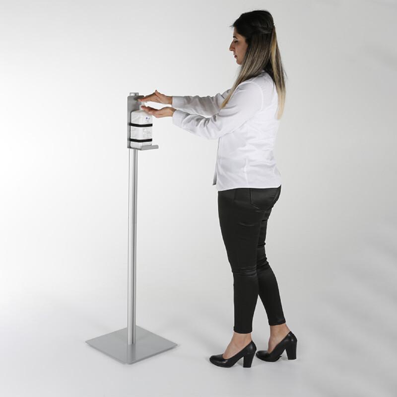 Distributeur de gel hydroalcoolique sur pied - Modèle simple en aluminium