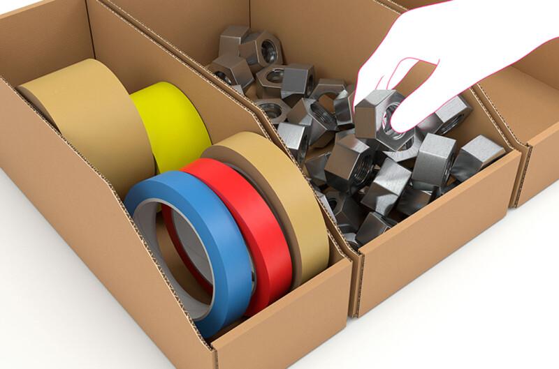 Bac à bec - Bac en carton - Facilite le picking - Rangement pour petits materiaux- Antalis