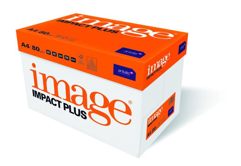 Papier copieur Image Impact Plus- A4 - 80g - FSC - carton vu de droite- Antalis